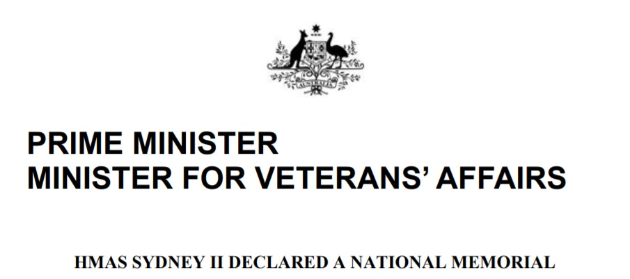 HMAS SYDNEY II DECLARED A NATIONAL MEMORIAL